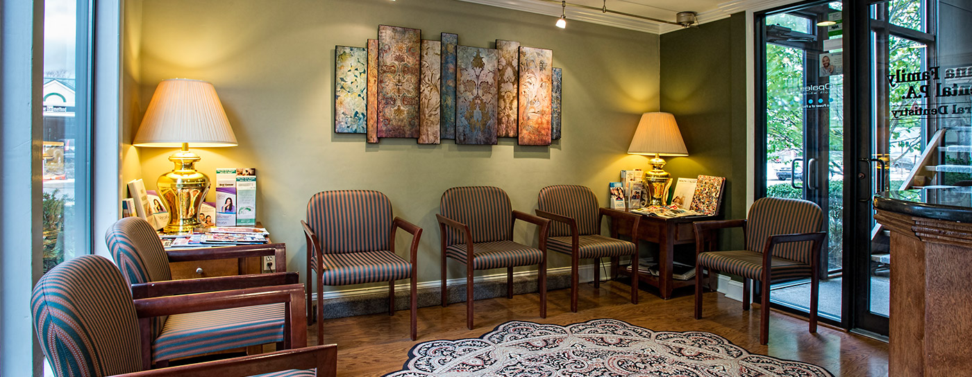 Comfortable welcoming dental waiting area