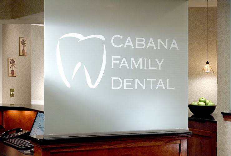 Cabana Family Dental sign in reception area