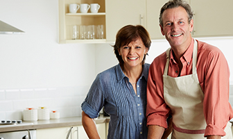 Smiling couple in a kitchen